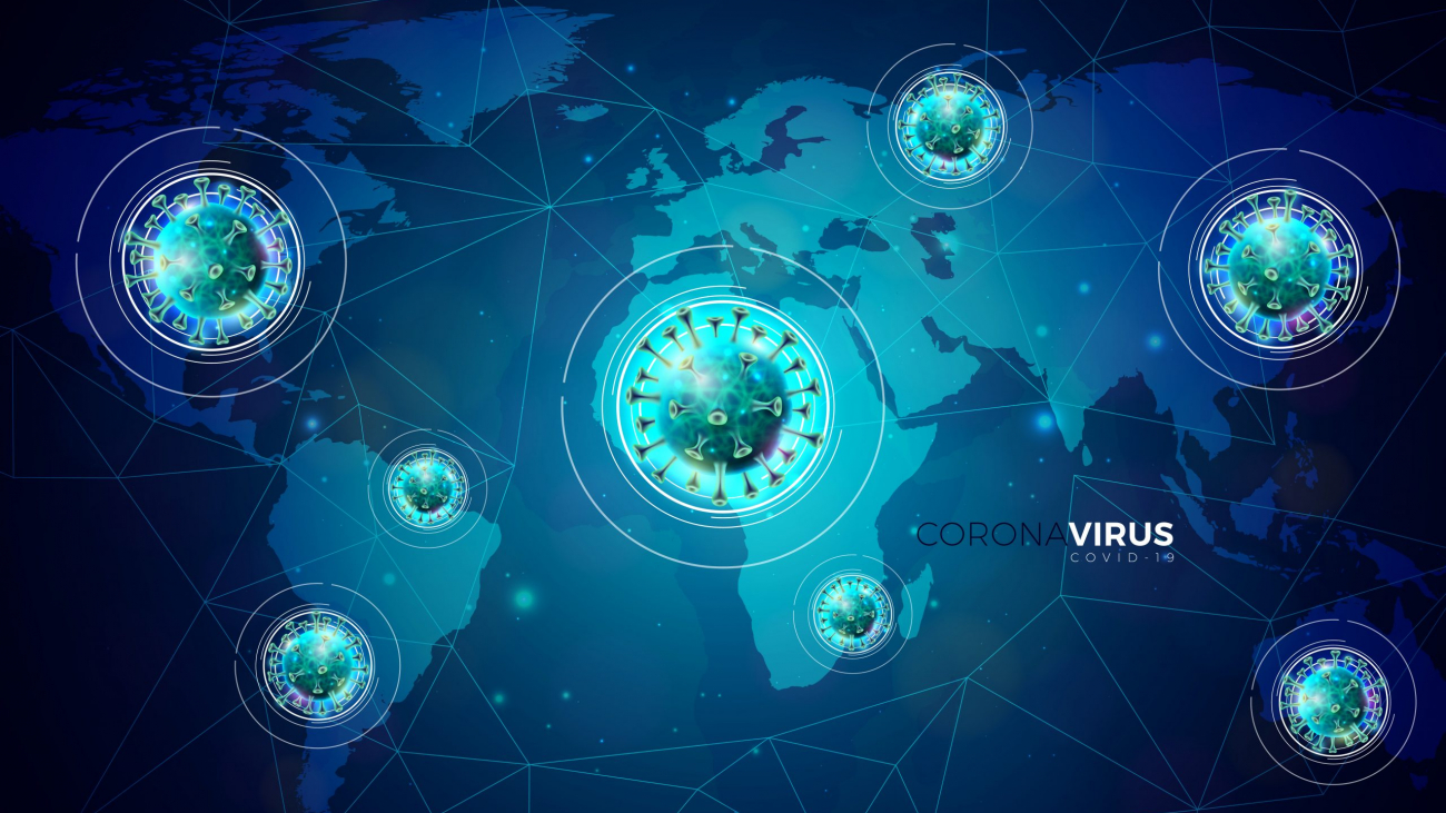 Covid-19. Coronavirus Outbreak Design with Virus Cell in Microscopic View on Abstract Blue World Map Background. Dangerous SARS Epidemic Vector Illustration for Promotional Banner or Flyer